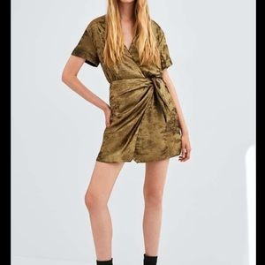 Zara Shiny Gold Wrap Dress